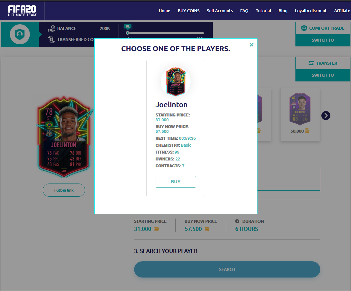 Click, search and find your players and click buy.