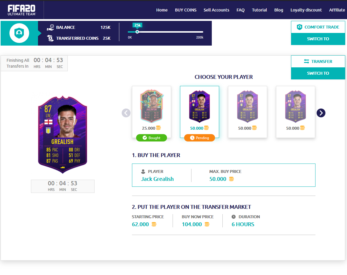 Our system will automatically buy your players and transfer the FIFA Coins to your account.