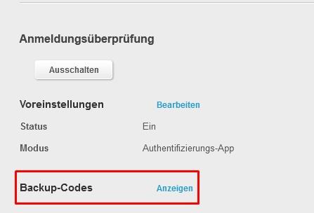 Backup Codes Anzeigen