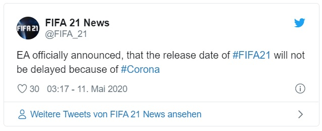 FIFA 21 Release date announcement tweet