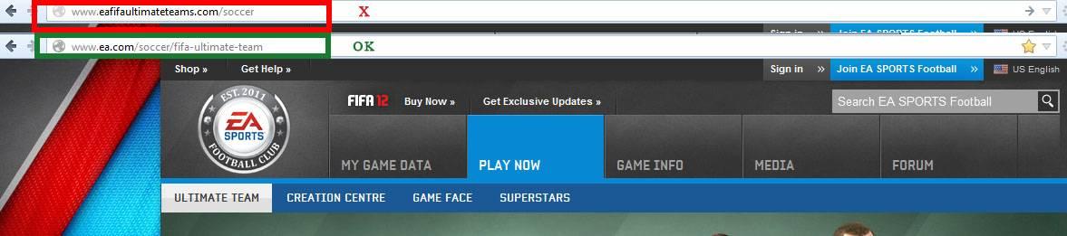 Sitio de phishing de EA FIFA