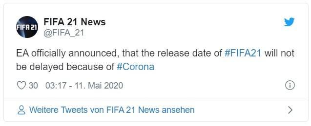 Tweet de anuncio de fecha de lanzamiento de FIFA 21